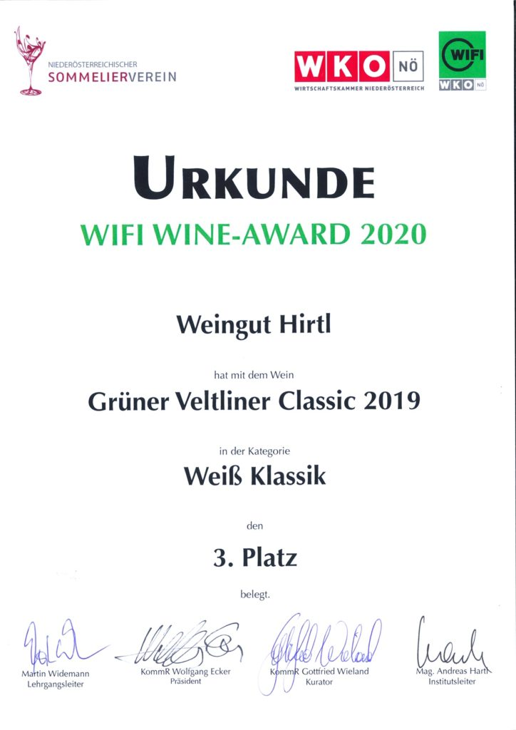 Urkunde Wifi Wein Award 2020 mit dem 3. Platz für den Grünen Veltliner Classic 2019